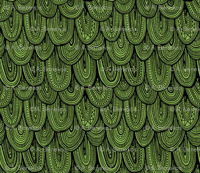 Doodle Scales - Sewing Swatches Black on Green