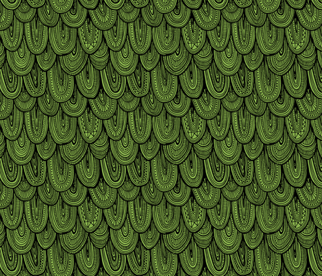 Doodle Scales - Sewing Swatches Black on Green fabric by siya on Spoonflower - custom fabric