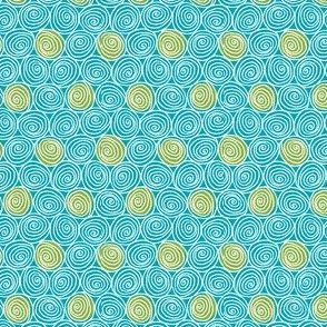 Doodle Spirals - Sewing Swatches Turquoise with Green Dots