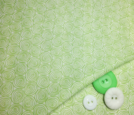 Doodle Spirals - Sewing Swatches Green on White