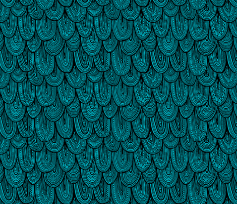 Doodle Scales - Sewing Swatches Black on Turquoise fabric by siya on Spoonflower - custom fabric