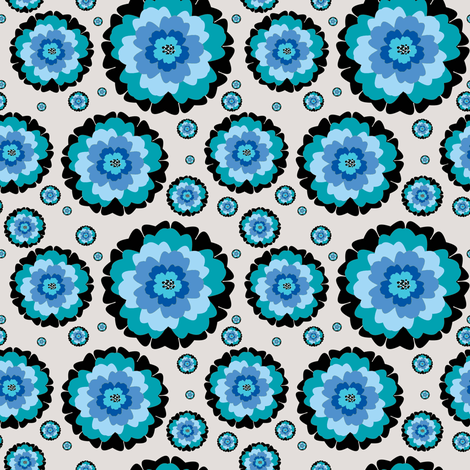 Blue Flowers fabric by awikegard on Spoonflower - custom fabric