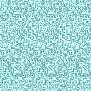 Doodle Spirals - Sewing Swatches Turquoise on White