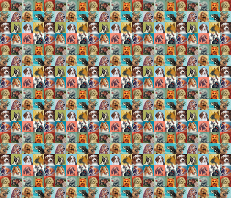 Paint By Numbers Dogs mini fabric by rawbonestudio on Spoonflower - custom fabric