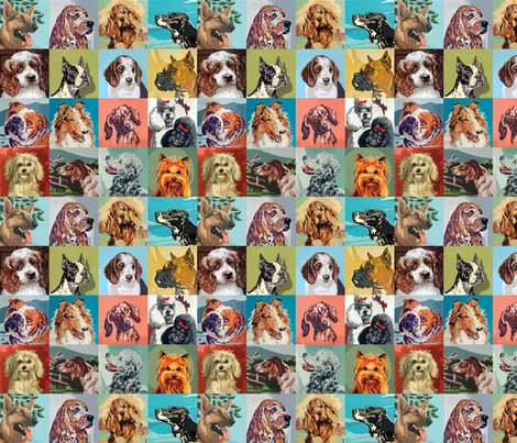 Paint By Numbers Dogs small fabric by rawbonestudio on Spoonflower - custom fabric
