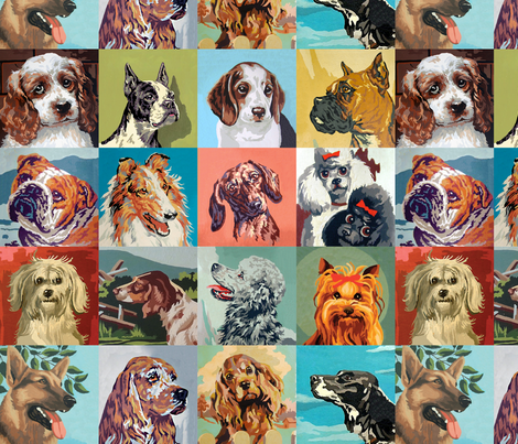 Paint By Number Dogs medium fabric by rawbonestudio on Spoonflower - custom fabric