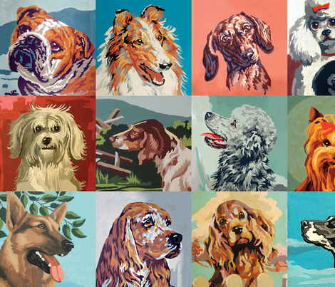 Paint By Numbers Dogs large fabric by rawbonestudio on Spoonflower - custom fabric