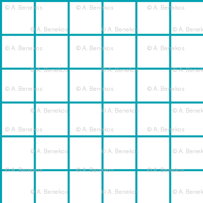 Sewing Swatches Grid - Turquoise on White