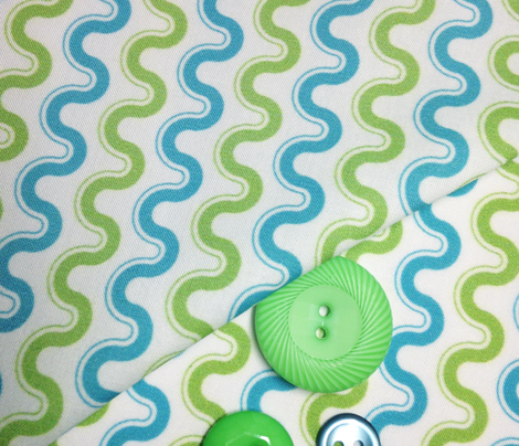 Groovy Wave - Sewing Swatches (Green and Turquoise)