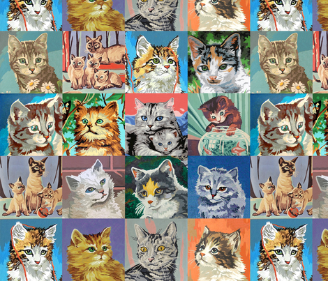 Paint By Number Cats - medium fabric by rawbonestudio on Spoonflower - custom fabric