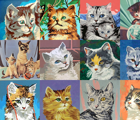 Paint By Number Cats - large fabric by rawbonestudio on Spoonflower - custom fabric