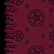 Satanic Baphomet Border Print [Wine Red]