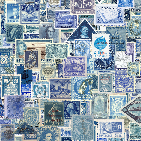 blue postage stamp collage, seamless repeat fabric by weavingmajor on Spoonflower - custom fabric