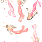 mermaids watercolor pink