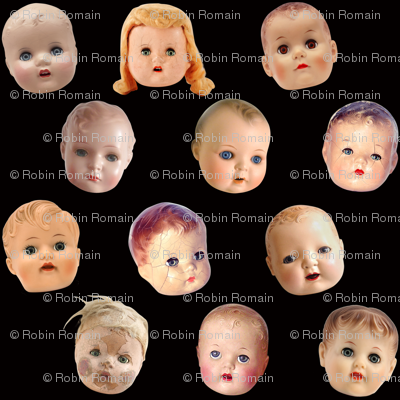Decapitated Doll Heads - medium black