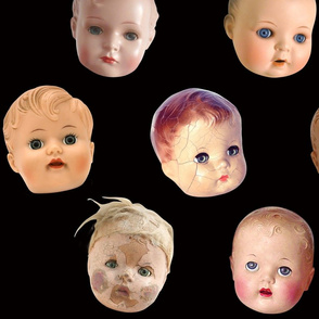 Decapitated Doll Heads - large black
