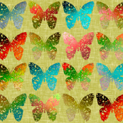 Colorful butterflies on yellowy-green linen weave by Su_G