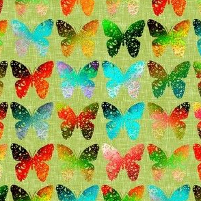 Bright butterflies on green linen weave by Su_G