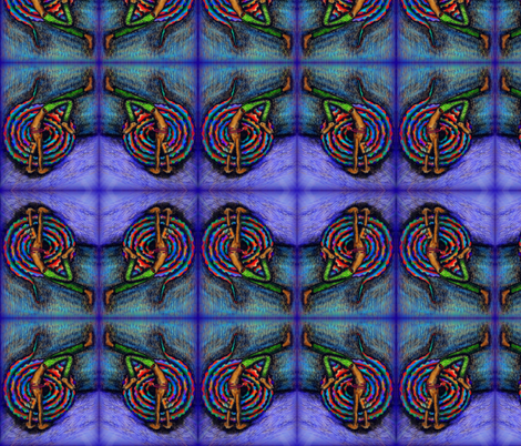 Snake Man in purples and greens fabric by lazella_rosetta on Spoonflower - custom fabric