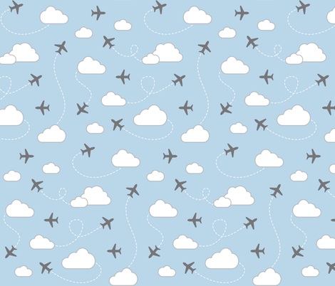Jets in Clouds - Gray on Light Blue fabric by cavutoodesigns on Spoonflower - custom fabric