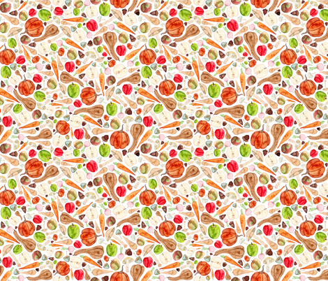 Fruit and Vegetable Kitchen Pattern fabric by elena_o'neill_illustration_ on Spoonflower - custom fabric