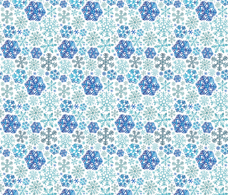 Blue Christmas Snowflakes fabric by elena_o'neill_illustration_ on Spoonflower - custom fabric