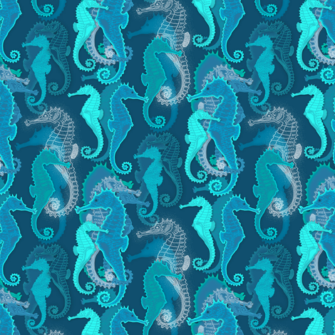 Seahorse fabric by j9design on Spoonflower - custom fabric
