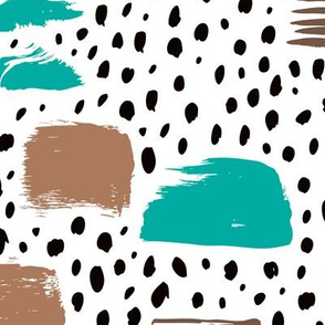 Strokes dots cross and spots raw abstract brush strokes memphis scandinavian style multi color teal taupe