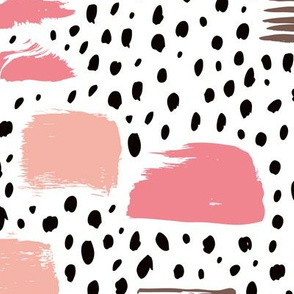 Strokes dots cross and spots raw abstract brush strokes memphis scandinavian style multi color pink taupe