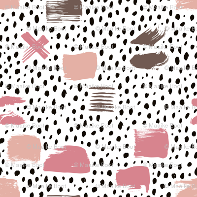 Strokes dots cross and spots raw abstract brush strokes memphis scandinavian style multi color pink taupe  SMALL