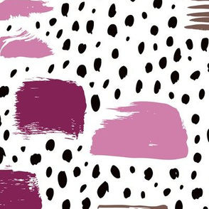 Strokes dots cross and spots raw abstract brush strokes memphis scandinavian style multi color purple lilac