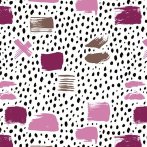 Strokes dots cross and spots raw abstract brush strokes memphis scandinavian style multi color purple lilac SMALL