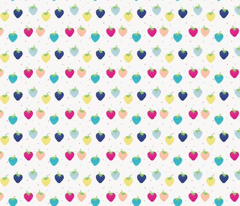 STRAWBERRIES Multi fabric by minkypnoo on Spoonflower - custom fabric