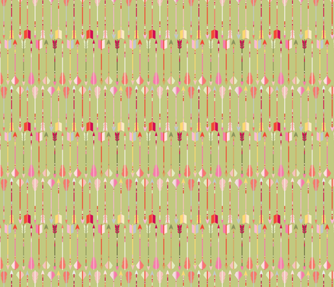motif_fl_che_fond_vert_S fabric by nadja_petremand on Spoonflower - custom fabric