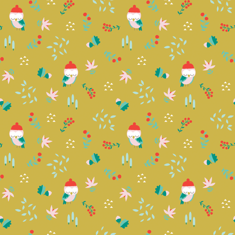 OWL IN THE LEAVES fabric by michelepayne on Spoonflower - custom fabric