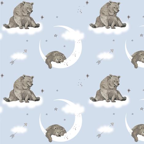 Moonlight Bear/ blue fabric by appaloosa_designs on Spoonflower - custom fabric