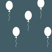 Balloons - white on dusty blue