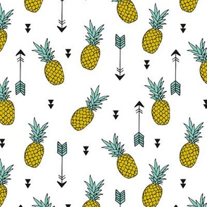 Tropical indian summer pineapple fruit geometric arrows yellow green gender neutral