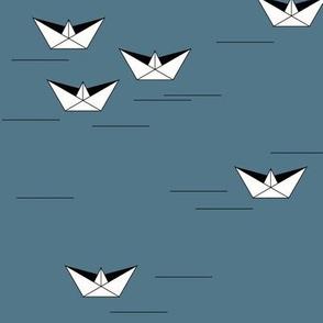 Origami boats - dusty blue