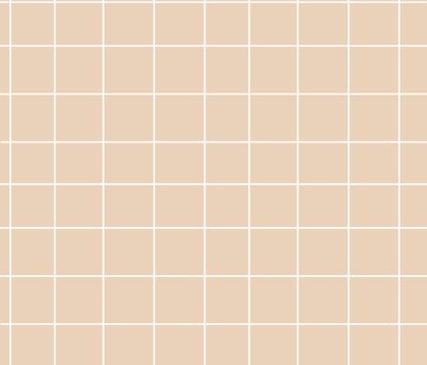 Pale Orange grid - pastel nude dusty pale orange squares fabric