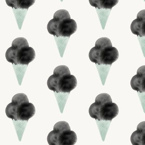 watercolor ice-cream cone - mint and black
