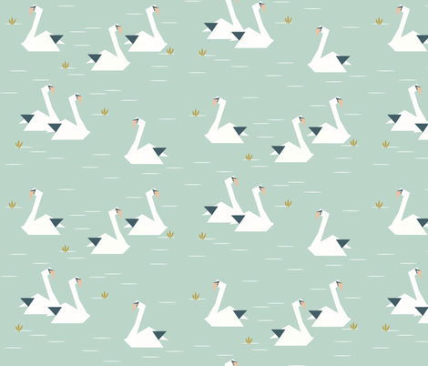 swans - geometric origami swans lake pond mint  fabric by sunny_afternoon on Spoonflower - custom fabric