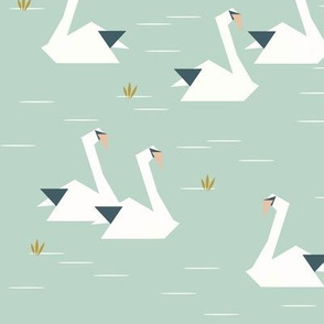 swans - geometric origami swans lake pond mint