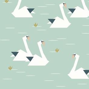 swans - geometric origami swans lake pond mint