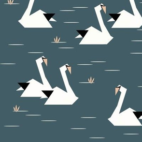 geometric swans - dusty blue
