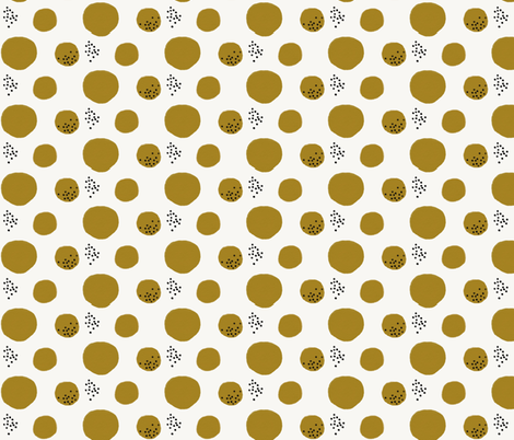 Watercolor abstract - watercolor dots large dots mustard black  fabric by sunny_afternoon on Spoonflower - custom fabric