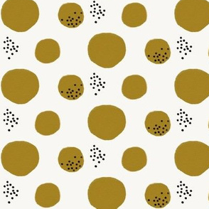 Watercolor abstract - watercolor dots large dots mustard black