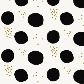 Watercolor dots - large dots black and white mustard monochrome dotty dots