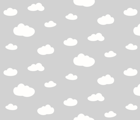 clouds - white on grey fabric by sunny_afternoon on Spoonflower - custom fabric