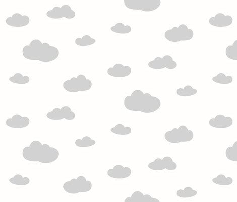clouds - grey on white  fabric by sunny_afternoon on Spoonflower - custom fabric